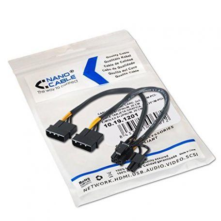 Nanocable Cable Alimentación Tarjeta Gráfica Molex 6+2 Pin 20cm