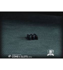 BHCustoms Pack 5 Cable Comb Abierto 4 Slots Negro 4mm