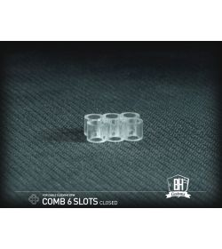BHCustoms Cable Comb Cerrado 6 Slots Transparente 4mm