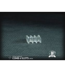 BHCustoms Pack 5 Cable Comb Abierto 6 Slots Transparente 4mm