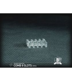 BHCustoms Pack 5 Cable Comb Abierto 8 Slots Transparente 4mm