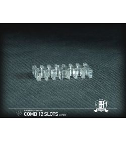 BHCustoms Cable Comb Abierto 12 Slots Transparente 4mm
