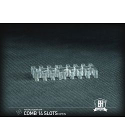 BHCustoms Cable Comb Abierto 14 Slots Transparente 4mm