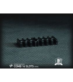BHCustoms Pack 5 Cable Comb Abierto 14 Slots Negro 4mm