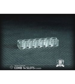 BHCustoms Pack 5 Cable Comb Cerrado 14 Slots Transparente 4mm