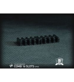 BHCustoms Pack 5 Cable Comb Abierto 16 Slots Negro 4mm